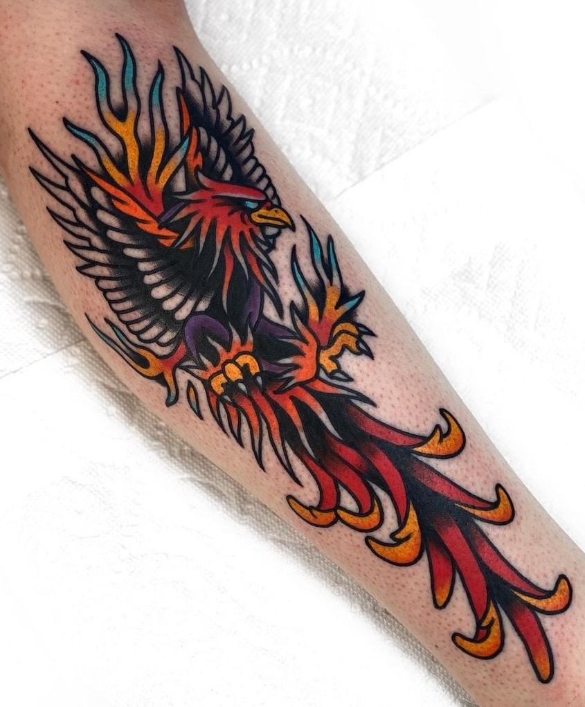 American Traditional Phoenix Tattoo