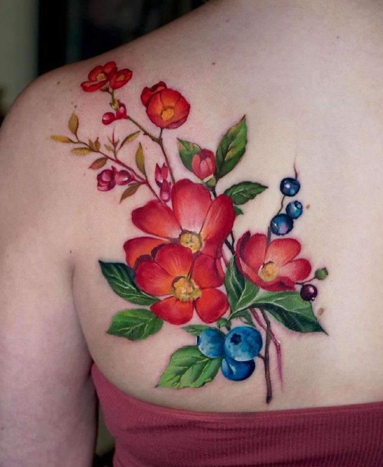 Antonina Rostra Flower Tattoo