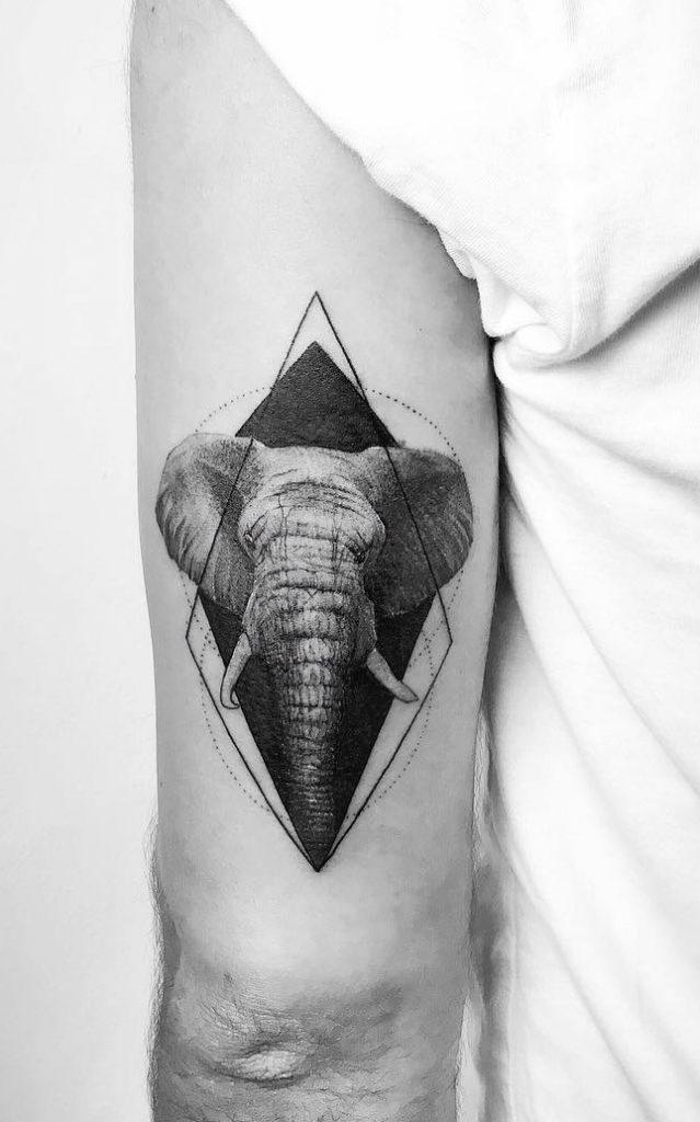 Black-work Elephant Head Tattoo