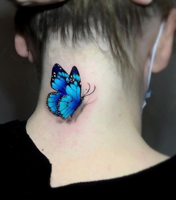 Blue 3D Butterfly Tattoo