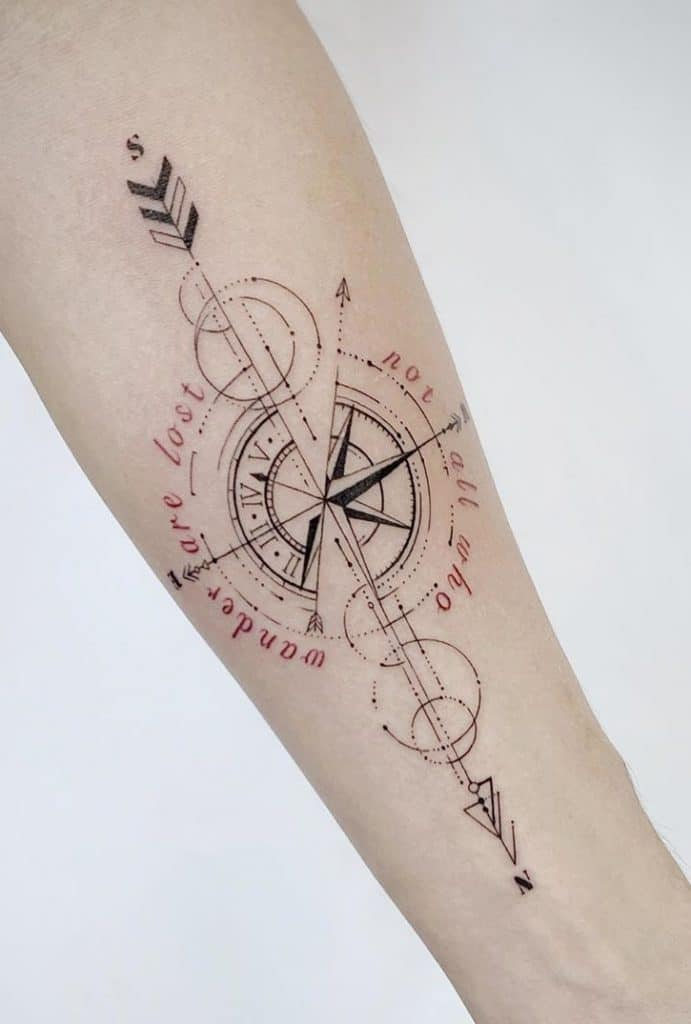 Compass Rose Tattoo on Forearm