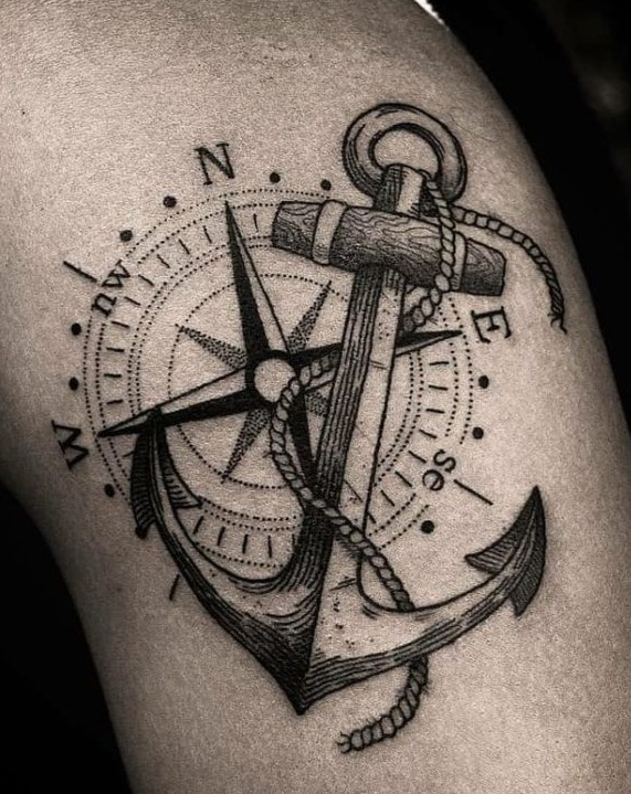 Compass Rose and Anchor Tattoo