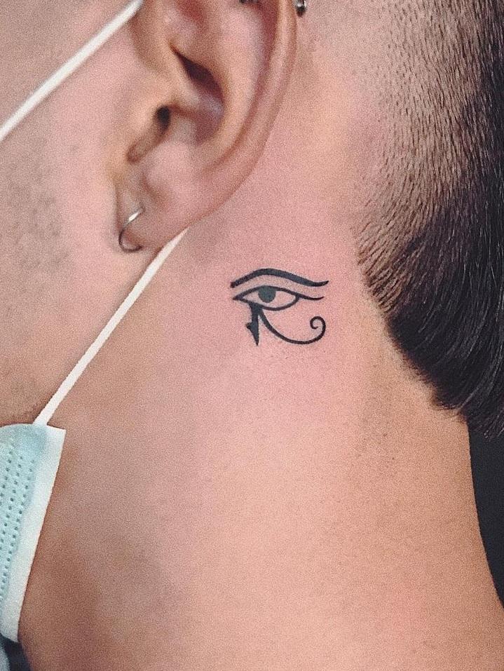 Eye of Horus Neck Tattoo