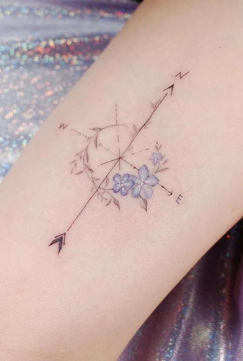 Floral Compass Rose Tattoo