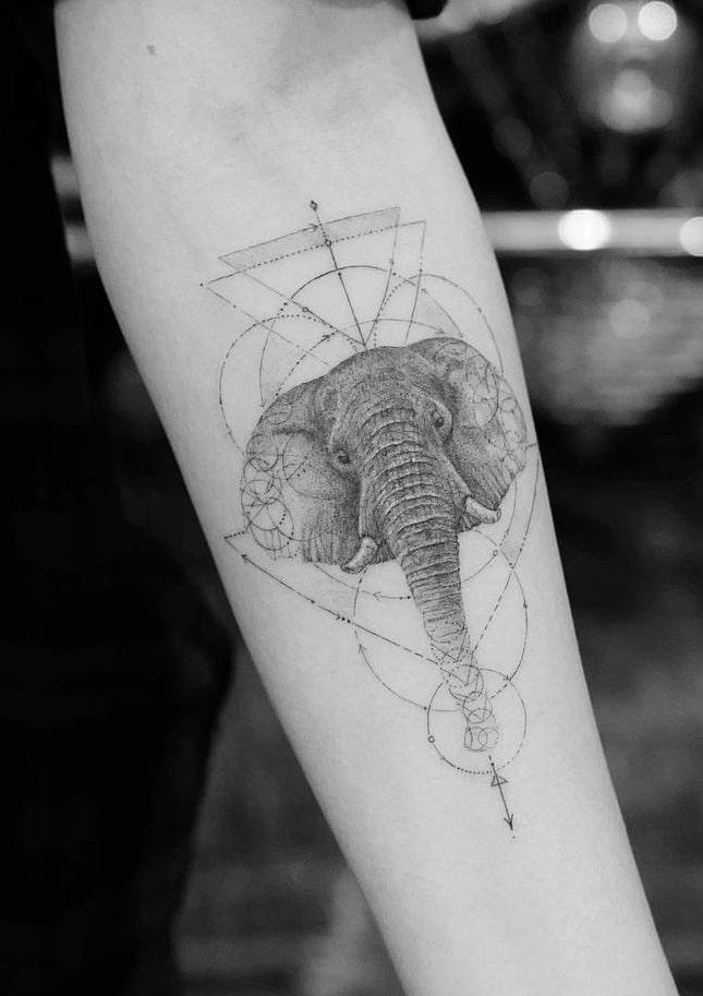 Graphic Elephant Head Tattoo