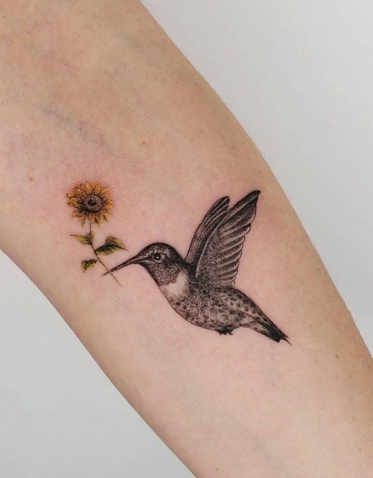 Hummingbird and Sunflower Tattoo