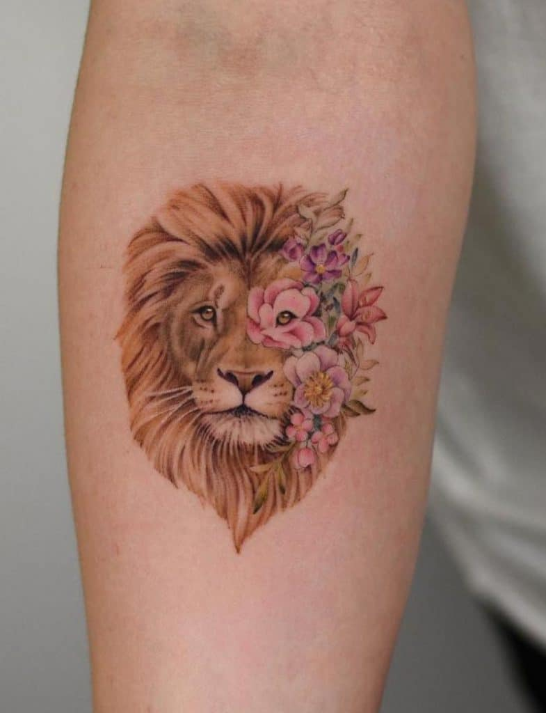 Lion Tattoo with Flower Tattoos