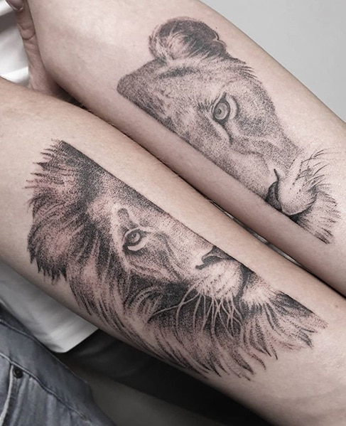 Lion and Lioness Tattoo for Couples
