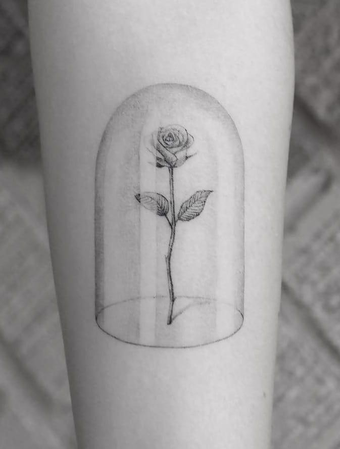 Micro-realist Rose Tattoo