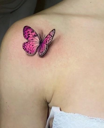 Pink 3D Butterfly Tattoo