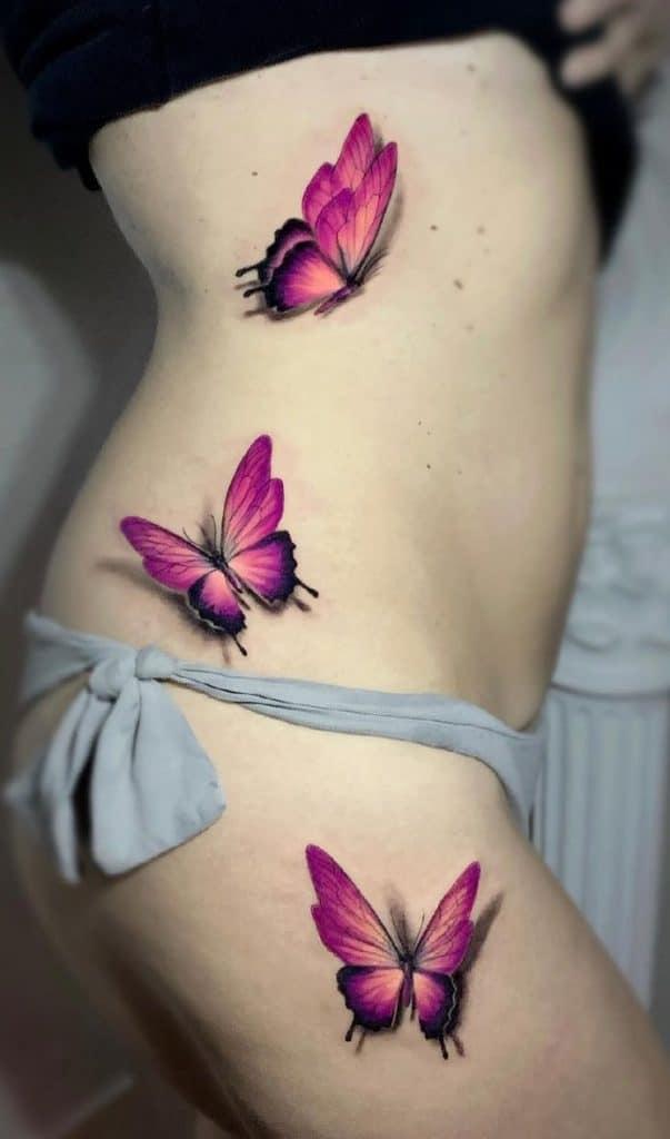 Purple 3D Butterfly Tattoo