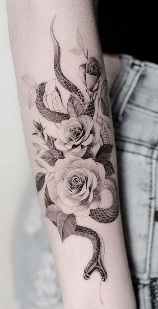 Roses with Snake Tattoo