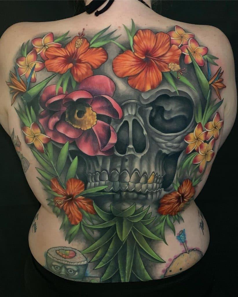 Skull and Hibiscus Tattoo