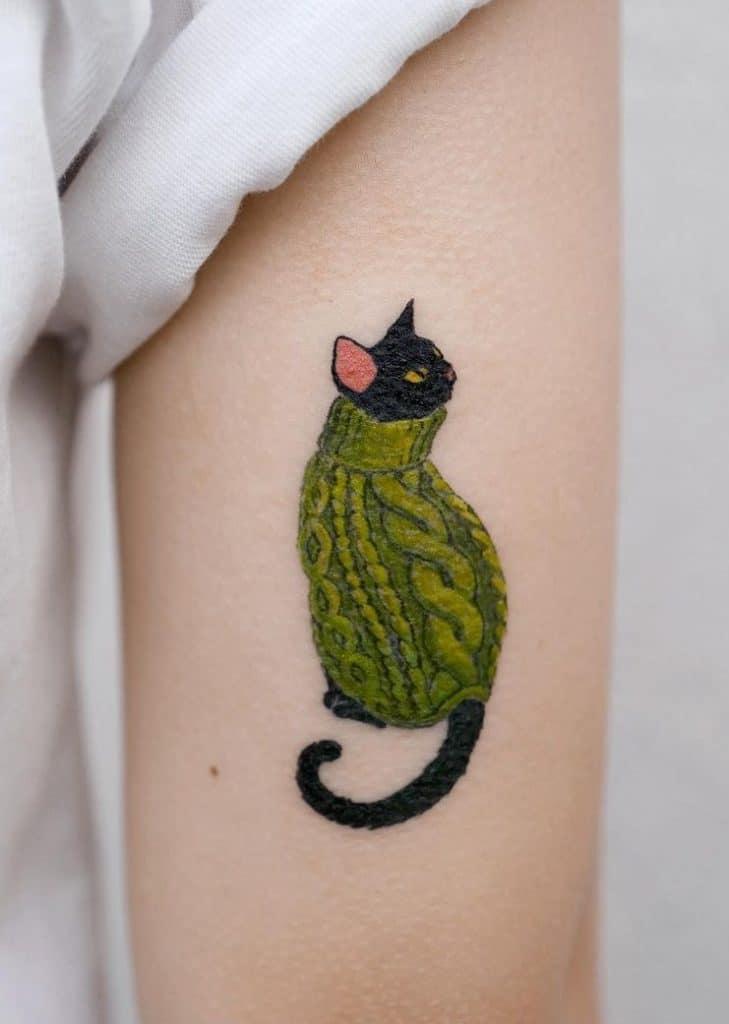 Small Black Cat Tattoo