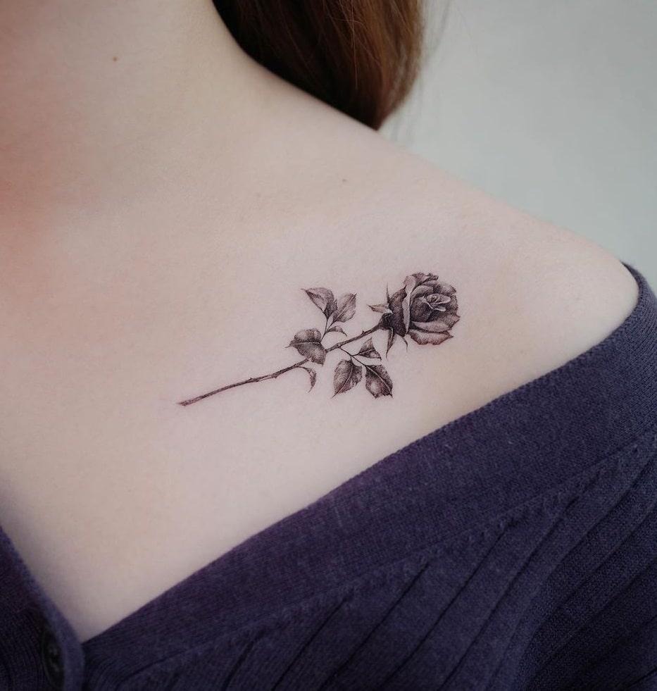 Small Black Rose Tattoo