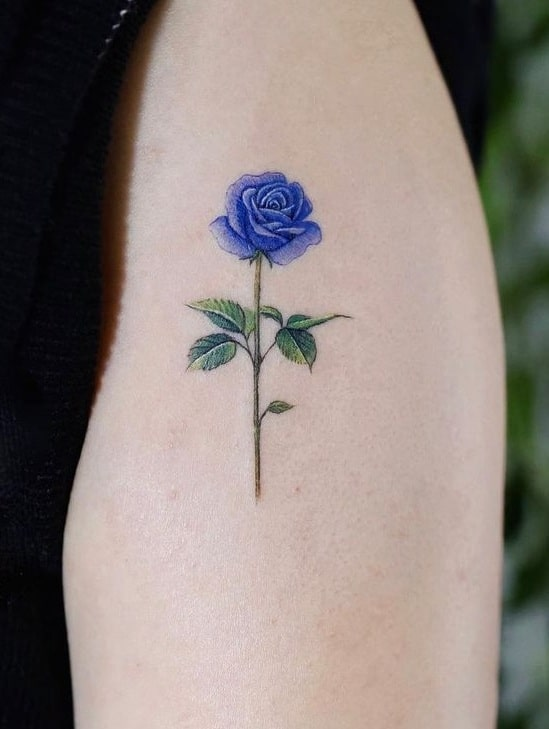 Small Blue Rose Tattoo