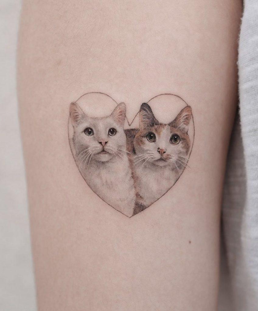 Small Cat Portrait Tattoo