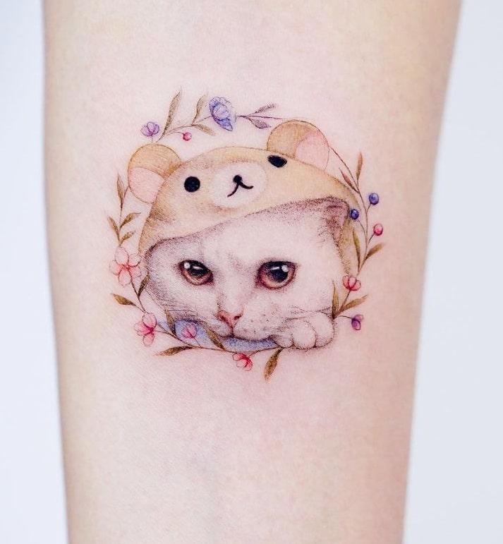 Small Cat Tattoo with Flower Tattoo