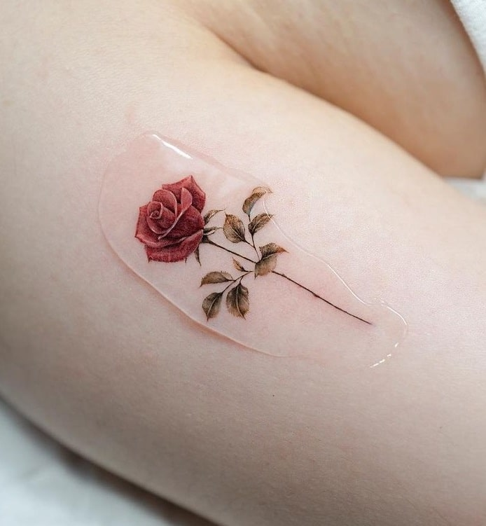 Small Red Rose Tattoo