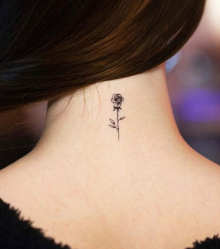 Small Rose Neck Tattoo