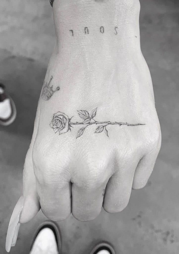 Small Rose Tattoo on Hand