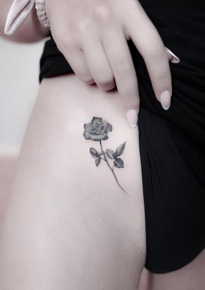 Small Rose Tattoo on Hip