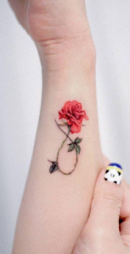 Small Rose Wrist Tattoo