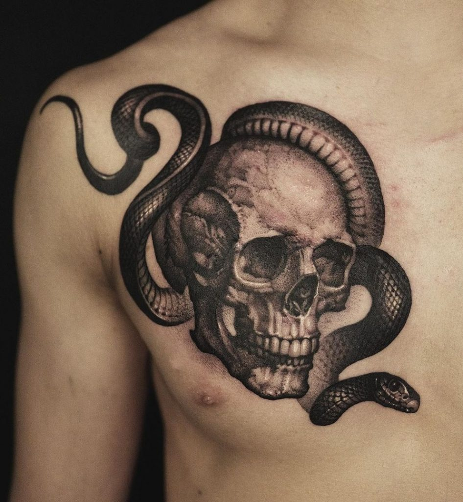 Snake Chest Tattoo