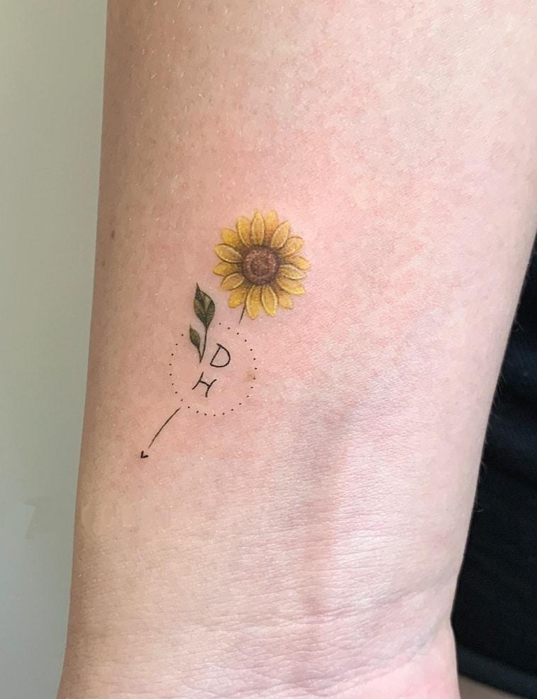 Sunflower Tattoo with Initials