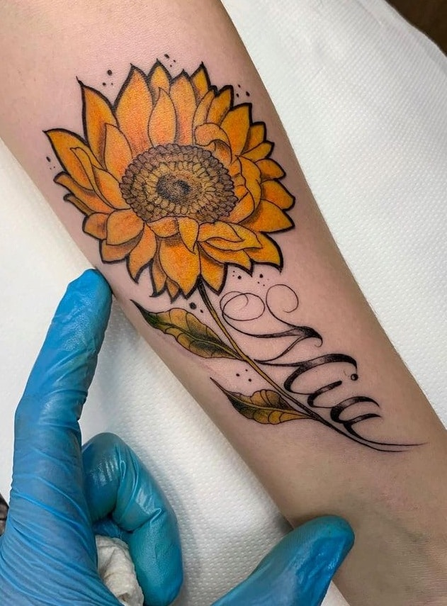 Sunflower Tattoo with Name