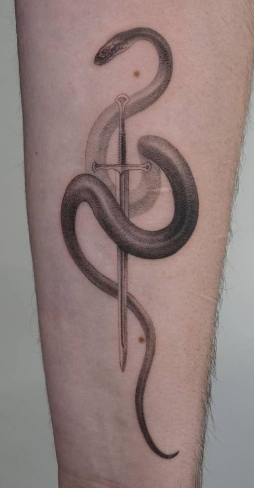 Sword and Snake Tattoo