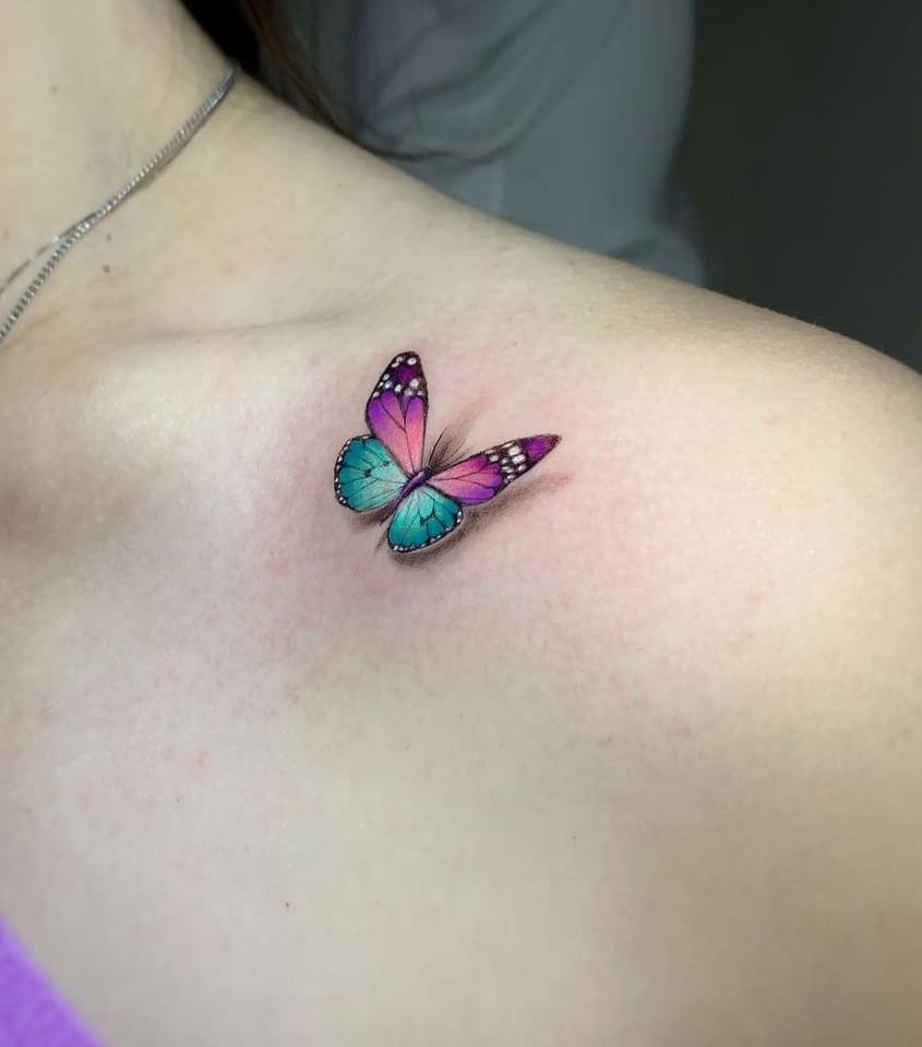 Tiny 3D Butterfly Tattoo