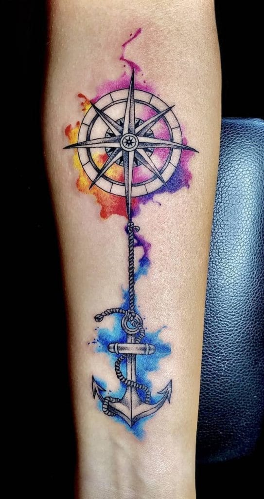 Watercolor Compass Rose Tattoo