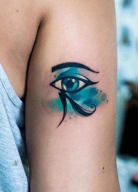 Watercolor Eye of Horus Tattoo