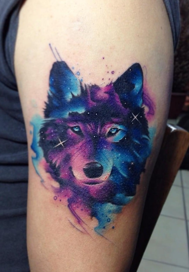 Watercolor Wolf Tattoo