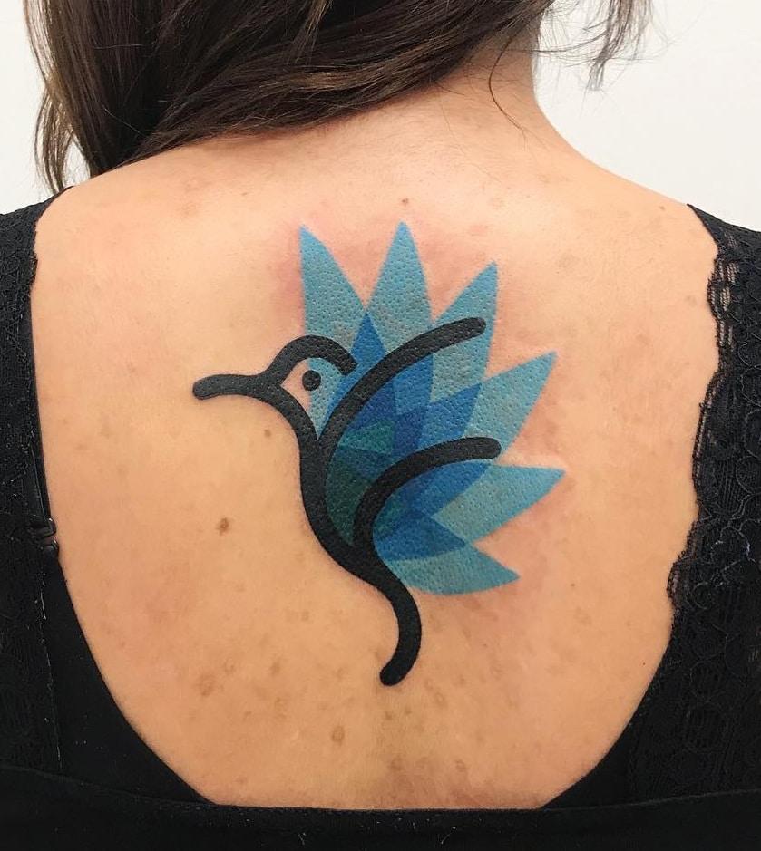 Abstract Hummingbird Tattoo