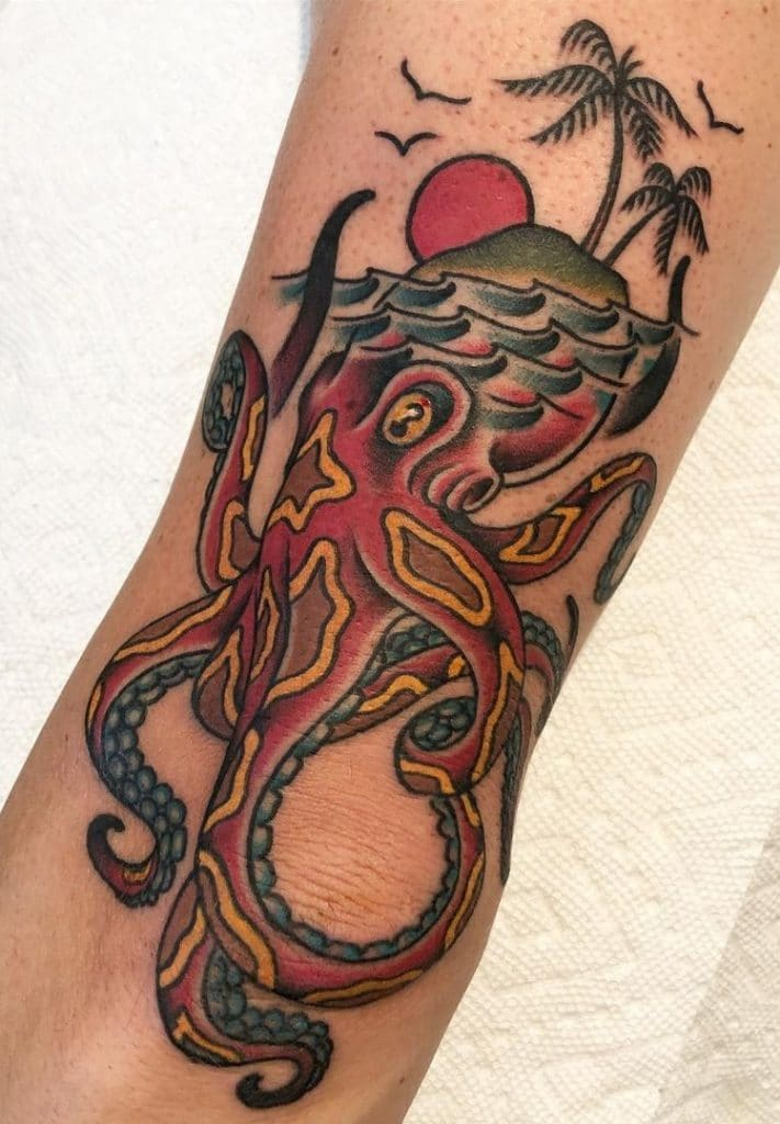 American Traditional Octopus Tattoo