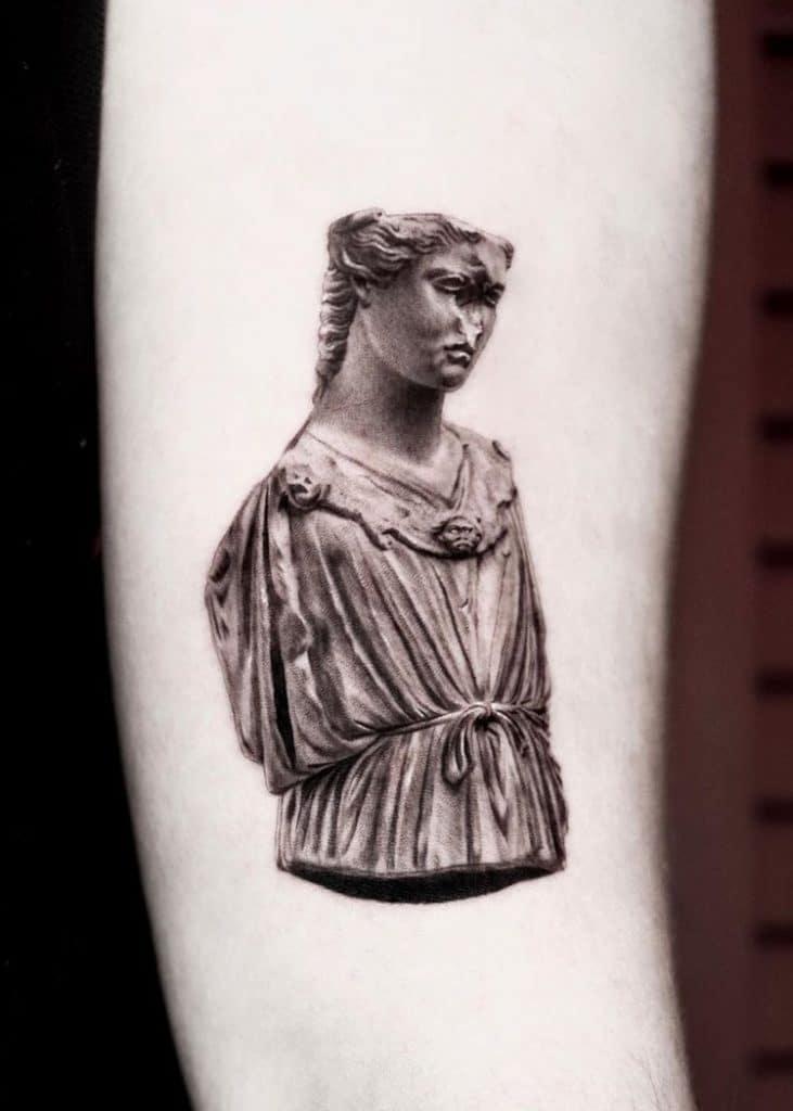 Athena Statue Tattoo