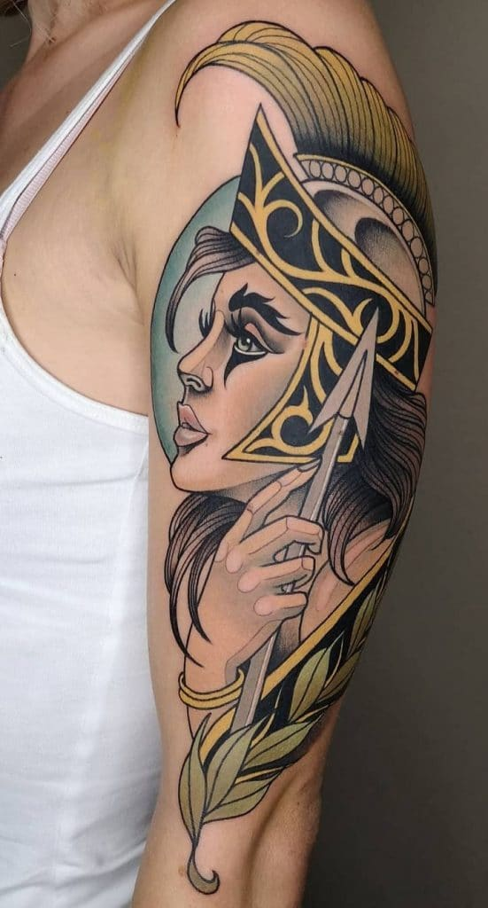 Neo-traditional Athena Tattoo