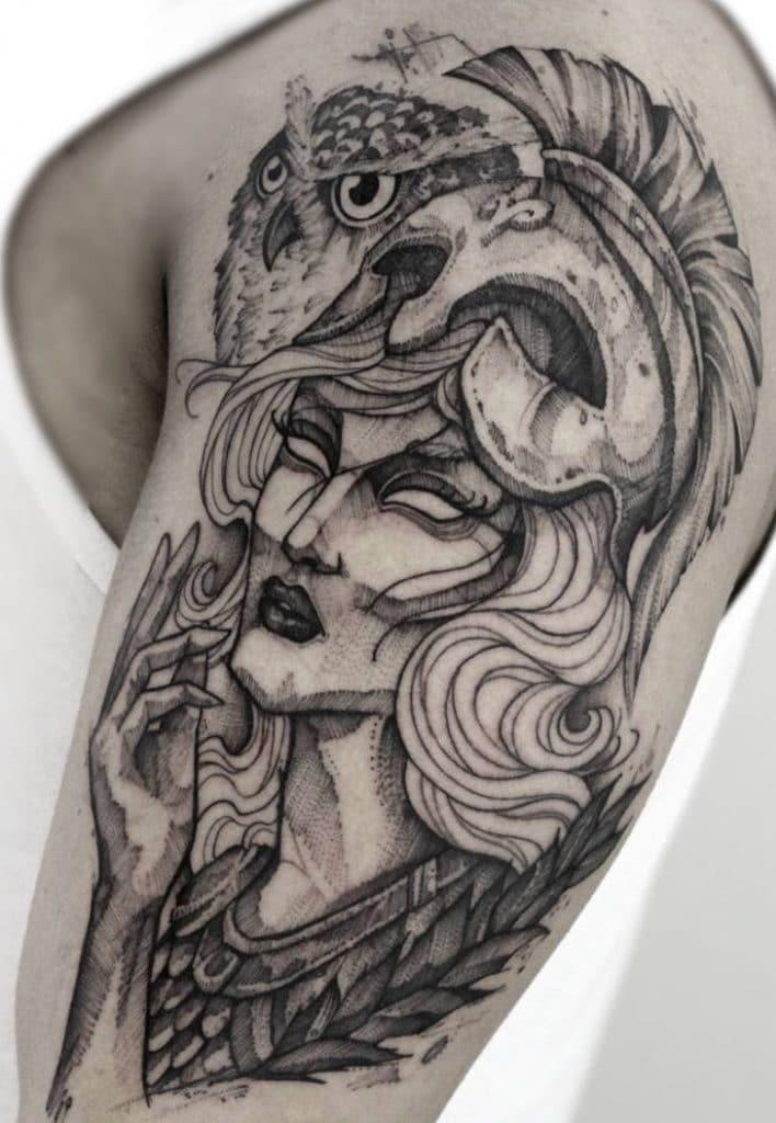 Athena and Owl Tattoo
