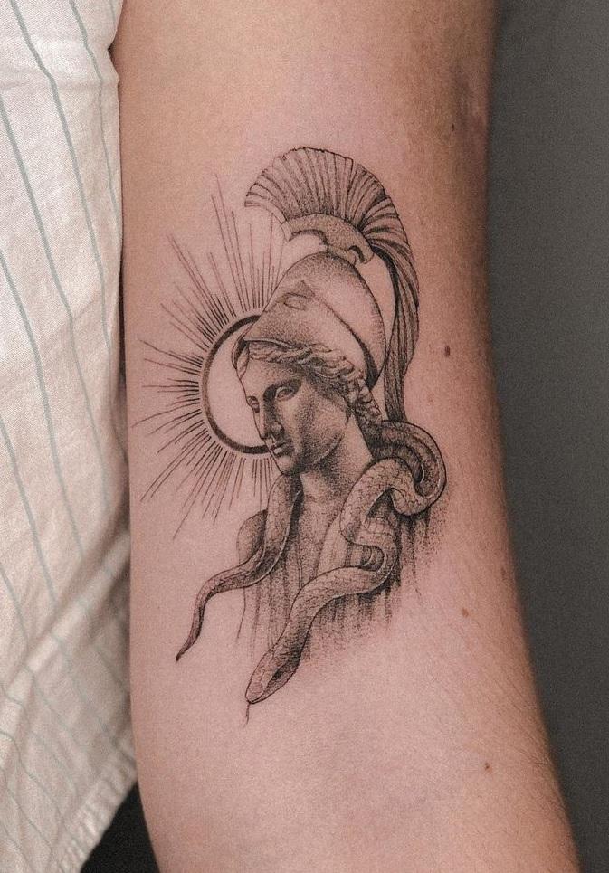 Athena and Snake Tattoo