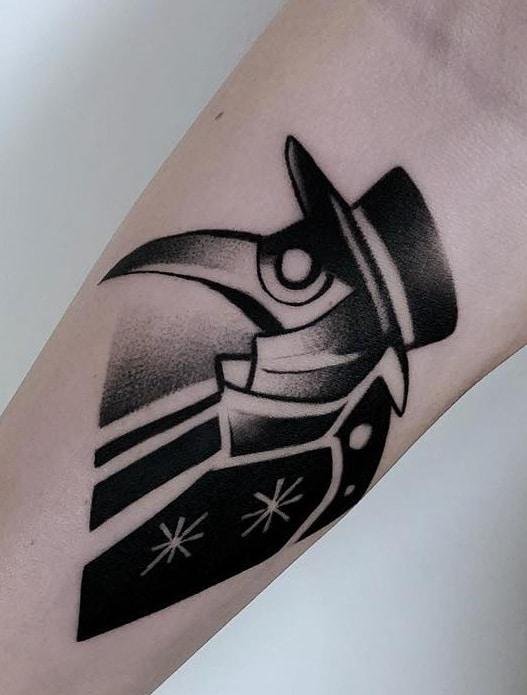 Black-work Plague Doctor Tattoo