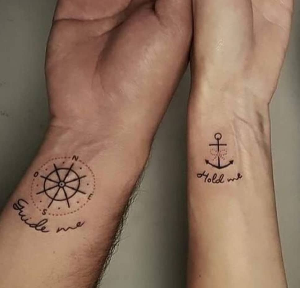 Compass and Anchor Couple Tattoos