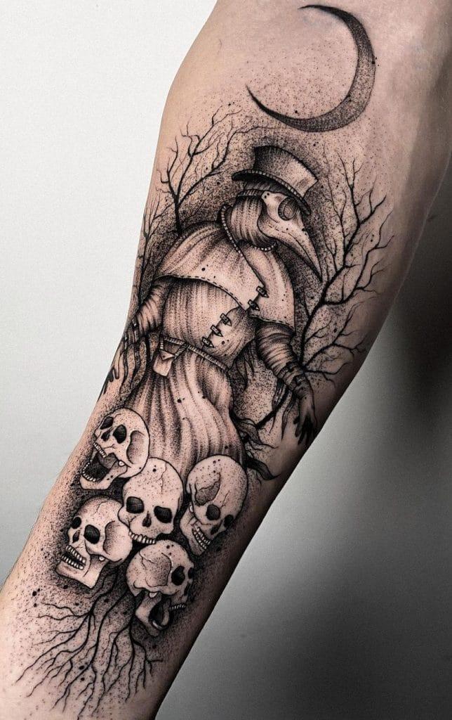 Dot-work Plague Doctor Tattoo