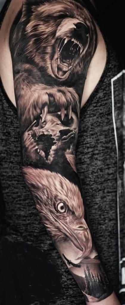 Eagle and Bear Tattoo