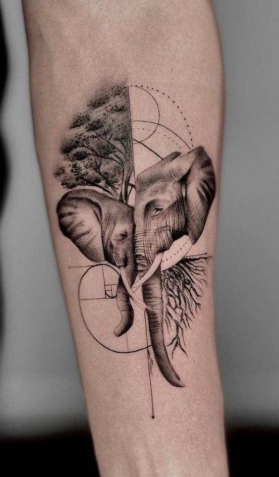 Elephant Mom and Baby Tattoo