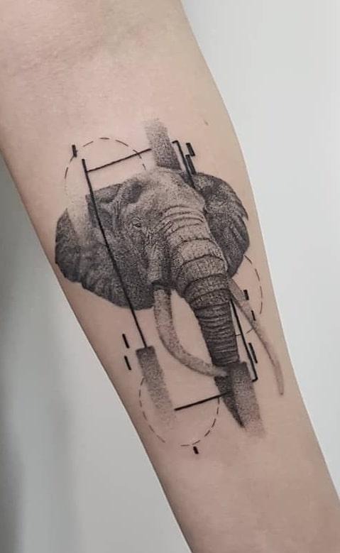 Elephant Trunk Down Tattoo