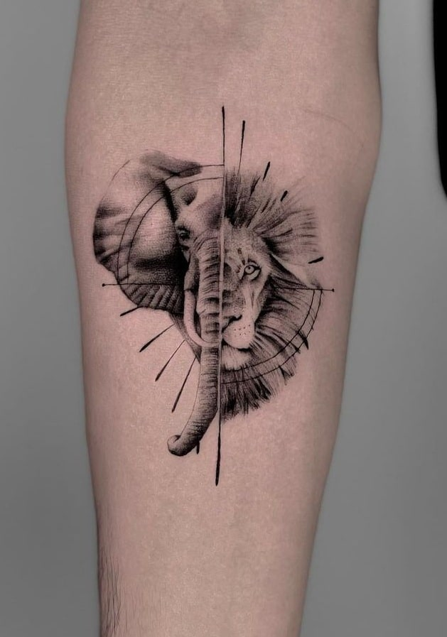 Elephant and Lion Tattoo