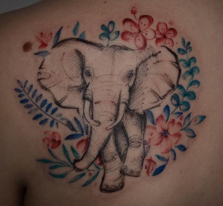 Elephant with Flower Tattoo