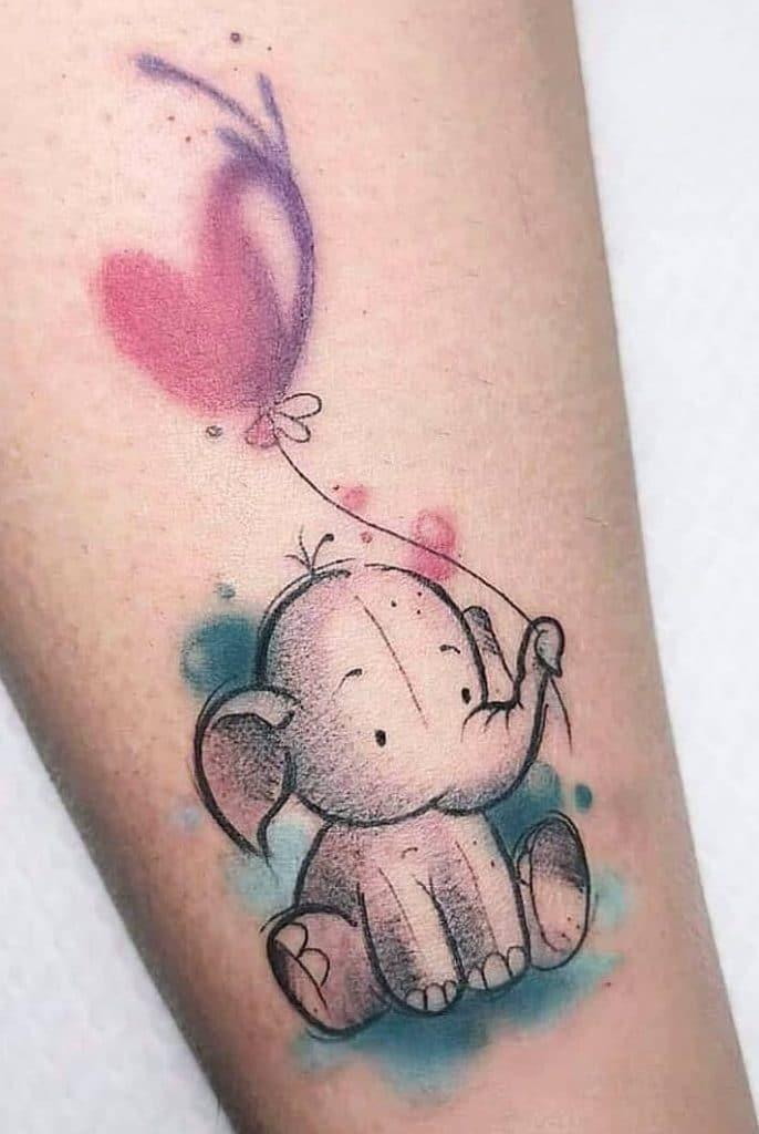 Elephant with Heart Tattoo